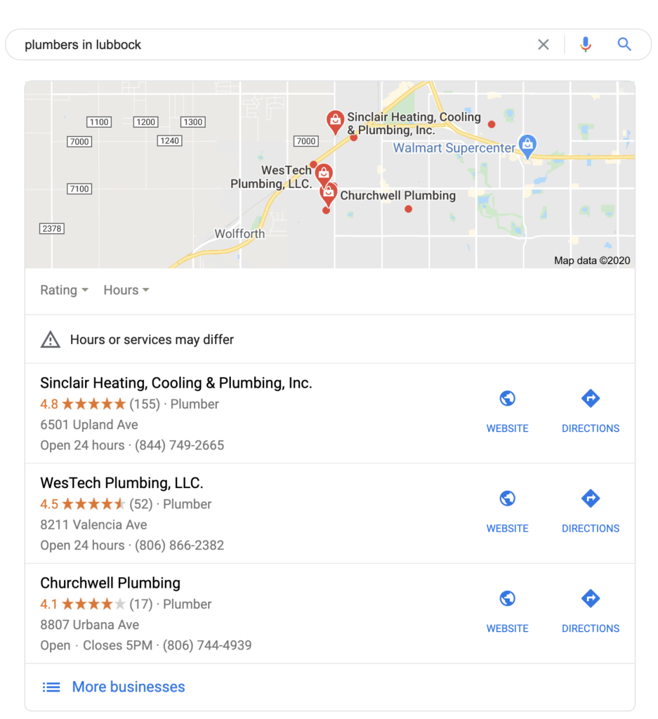 "A screenshot from Google of the ""local pack""."